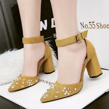 Chic Rhinestone Pointed Toe Sandals Block Heels Ankle Strap Buckle Women Shoes