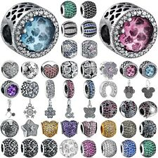 NEW 925 sterling silver charms Pave crystal European bead for bracelet chain CA8