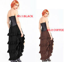 Womens Victorian Vintage Gothic Steampunk Lace Skirt 4 Layeres Ruffle Gown 6-16