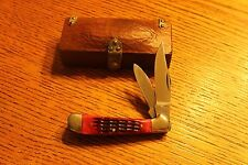 Frost Cutlery Japan Red Jigged Bone Jack Knife with Custom Wooden Box