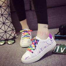 Sports Womens Lace Up Rounded Toe Flat Sneakers Athletic Casual Fashion Shoes