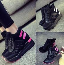 New Fashion Womens High Top Lace up High Wedge Heel Ankle Boots Creepers Shoes 8