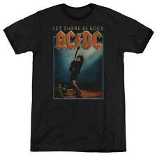 Acdc Let There Be Rock Mens Adult Heather Ringer Shirt Black