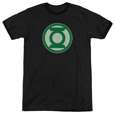 Green Lantern Green Symbol Mens Adult Heather Ringer Shirt Black