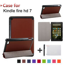 Folding Leather Case Cover + Film + Stylus For Amazon Kindle Fire 7 2017 Tablet