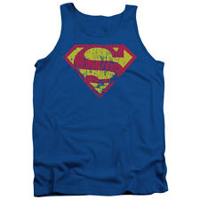 Superman Classic Logo Distressed Mens Tank Top Shirt
