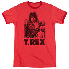 T Rex Lounging Mens Adult Heather Ringer Shirt Red