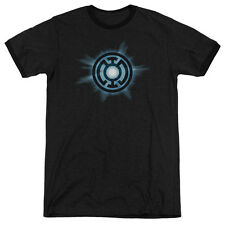 Green Lantern Blue Glow Mens Adult Heather Ringer Shirt Black