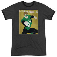 DC Comics Simple Green Lantern Poster Mens Adult Heather Ringer Shirt Charcoal