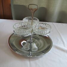 VTG Silverplate 2 Tier Serving Condiment Tray With 3 Pressed Glass Bowls