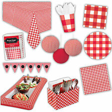 Summer BBQ Red Gingham Garden Picnic Party Plates Napkins Decorations Listing