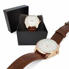 Mens Rose Gold Trident Hand Stainless Steel Quartz Wrist Watch Brown Leather UK