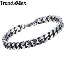 8/10/12mm Mens Chain Boys Bracelet Silver Stainless Steel Cut Curb Cuban Link