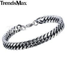 8/10mm Mens Chain Boys Bracelet Silver Stainless Steel Cut Curb Cuban Rombo Link