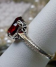 3ct*Red Ruby* Sterling Silver Art Deco 1930s Filigree Ring Size: {Made To Order}