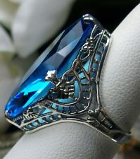 13ct Marquise *Swiss-Topaz* Deco Filigree Sterling Silver Ring {Made To Order}