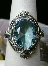 5ct Oval *Aquamarine* Sterling Silver Victorian Filigree Ring [Made To Order]