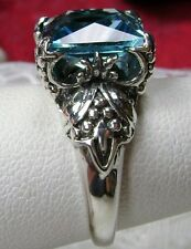 3ct*Aquamarine* Sterling Silver Gothic Claw Castle Filigree Ring {Made To Order}