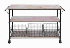 """Benzara Classic Style Metal Wood Storage Mobile Cart with 41"""" H 29"""