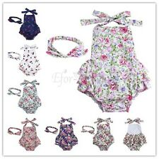Newborn Infant Baby Girl Floral Romper Bodysuit+Headband Jumpsuit Outfits KIDS