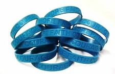 Teal Awareness Bracelets 50 Piece Lot Silicone Wristband Jelly Cancer Cause New