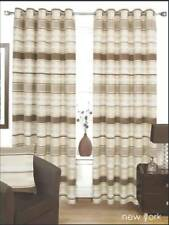 CREAM BEIGE & BROWN THICK LINEN HEAVY Lined EYELET Curtains 8 Sizes