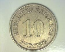 GERMANY 1875-A  TEN PFENNIG  KM4 ABOUT UNCIRCULATED    ~ FC213