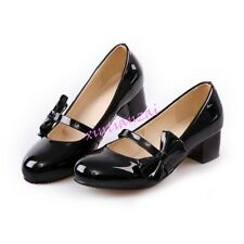 Womens Bowknot Mary Janes Fashion Shoes Classic Kitten Heel Shoes Plus Size 2017