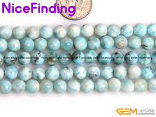 Natural AAA Blue Larimar Gemstone Round Loose Stone Beads For Jewelry Making 15""
