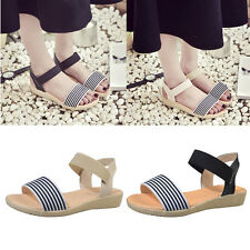Women Ladies Striped Summer Beach Sandals Flat Shoes Open Toe Flip Flops Casual