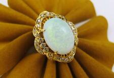 VINTAGE RETRO 14k Yellow Gold Oval Natural OPAL & CZ Women's Ring Size 8.25