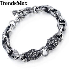 10mm Mens Chain Bracelet Silver 316L Stainless Steel Wolf Head Mariner Oval Link