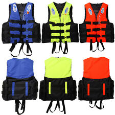 S-XXXL Polyester Adult Kids Life Jacket Swimming Boating Ski Foam Vest + Whistle