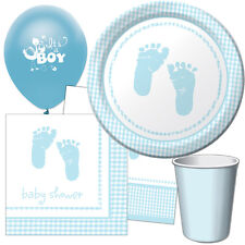 PLAID New Baby BOY Baby Shower Party Range - Tableware Balloons & Decorations