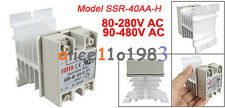 SSR-40AA-H 40A Solid State Relay Module 80-280V AC / 90-480V  Aluminum Heat Sink