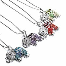 New Crystal Rhinestone Elephant chain Pendant Necklace Gold Charms Jewellry Gift