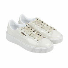 Puma Basket Platform Patent Womens Beige Patent Leather Lace Up Sneakers Shoes