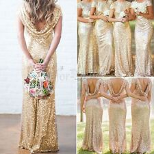 Gold Sequin Fishtail Mermaid Prom Maxi Dress Formal Evening Party Long Gown