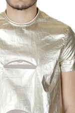 RICK OWENS New Men gold Embroidery TRIPLE STARE T-shirt Cotton  Made in ITALY