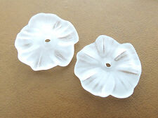 17mm 30/../300pcs FROSTED WHITE ACRYLIC PLASTIC FLOWER LOOSE BEADS TZ4336