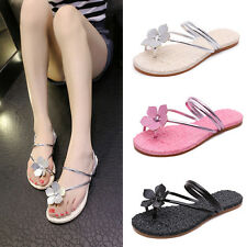 Womens Ladies Flower Slippers Sandals Floral Flip Flops Flat Beach Thong Shoes