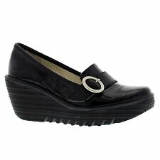 Fly London Yond 771 Black Womens Leather Slip on Wedge Heel Shoes