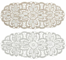Pack of 6 Floral Lace Oval Doilies 100% Polyester Traditional Table Linen Doyley