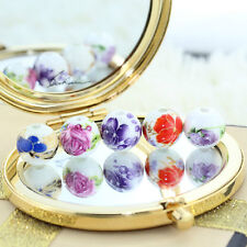 10/20Pcs Round Porcelain Ceramic Loose Spacer Beads Flower Design Charm Jewelry