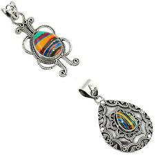 925 sterling silver rainbow calsilica pendant jewelry by jewelexi 9289A