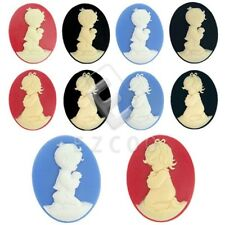 Oval Little Boy Girl Character Flatback Cameo Resin Cabochons 40x30mm Wholesale
