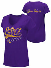 LSU Tigers Colosseum WOMEN Purple Geaux Tigers Short Sleeve V-Neck T-Shirt