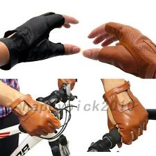 Leather Sheepskin Half Finger Gloves Chauffeur Motorcycle Bicycle Driving