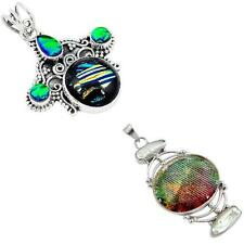 925 sterling silver dichroic glass pendant jewelry by jewelexi 3485B