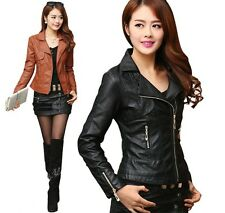 Women Soft PU Leather Biker Motorcycle Coat Zipper Jacket Slim Plus Size Tops